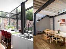 100 Exposed Joists Brick And Steel Create Backdrop For Contemporary