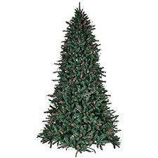 8FT Artificial Christmas Tree With Pine Cones Red Berries 2528 PCS PVC Tips Pre Attached