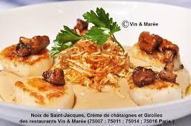 cuisiner des noix de st jacques recette de noix de jacques crème de châtaignes et girolles