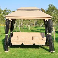 Patio Swings With Canopy by Outsunny Outdoor 3 Person Patio Daybed Canopy Gazebo Swing Tan W