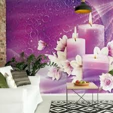 details zu tapete vlies fototapete für wohnzimmer wellness spa lila rosa spa kerzen