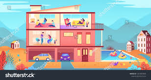 100 Living In A Garage Apartment House Different Partment Swimming Pool Stock Vector