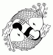 Two Koi Fish Formed Yin Yang Sign Coloring Page