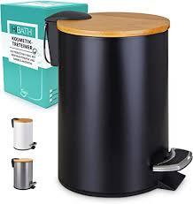 hibath 3 liter kosmetikeimer mit bambusdeckel badezimmer mülleimer mit softclose absenkautomatik hochwertiger badmülleimer bad mülleimer