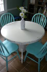 DIY White Chalk Paint On Wood Round Table Turquoise Chairs
