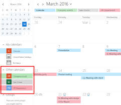 Overlay Exchange line d Calendars with Point calendar
