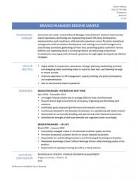 Resume Templates Retail Bank Brancher Sample Samples Assistant Branch Manager