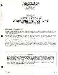Heatiator Indoor Fireplace HF42A User Guide