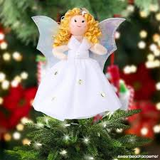 OurWarm Mini Angel Christmas Tree Topper Little 7 Inch Small Remembrance Figure For