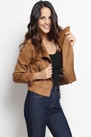 themogan faux suede leather biker jacket asymmetric zip front moto