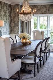 Trestle Rectangular Extension Dining Table Lined With Black And White French Round Back Chairs Wingback Captain Placed At Each End