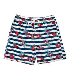 100 Coco Republic Sale Mens Striped Floral Board Shorts In Navy Blue
