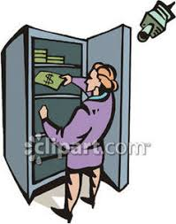 A Security Camera on a Businesswoman Taking Money From a Safe Royalty Free Clipart Picture