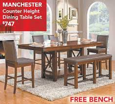 MANCHESTER COUNTER HEIGHT DINING TABLE SET WITH FREE BENCH