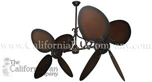 twin star ii double ceiling fan with 50 inch distressed wood