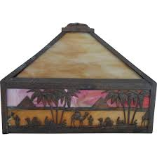 Mica Lamp Shade Company by Slag Stained Glass Lamp Shade Camels Pyramids Egyptian Revival C
