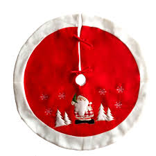 Red Velveteen Christmas Tree Skirt 36 InchEmbroidered With Snowman Snowflake Xmas Holiday Decoration Ornaments