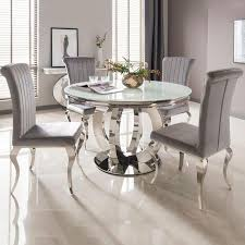 Ohio 130cm White Glass & Chrome Round Dining Table + 4 Nicole Dining ... Kitsch Round Glass Table Set Of 4 Chairs Dfs Ireland Mcombo Mcombo Ding Side 4ding Clear Ingatorp And Chairs White Ikea Cally Modern Table With La Sierra Fniture Grindleburg 60 Woodstock Carisbrooke Barker Stonehouse Dayton 48 Upholstered Shop Hlpf5cap 5 Pc Small Kitchen Setding Hanover Traditions 5piece In Tan A Jofran Simplicity Chair Slat Back Pier 1 W Aptdeco Rovicon Lulworth Pedestal
