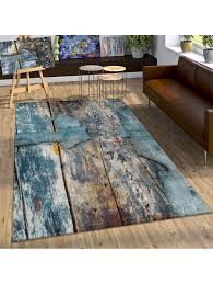 paco home designer teppich bunte holz optik hoch tief optik in türkis gelb grau meliert klingel
