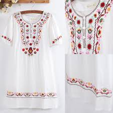 Summer Women Dress Top Vintage 70s Crochet Embroidery Mori Girl Blouse 100Cotton White Mini