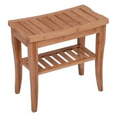 Shop Mosa Natural Bamboo Shower Bench Corner Stool 2 Tier Storage