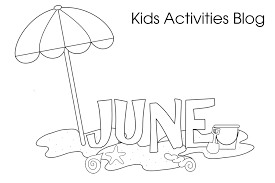 Beach Fun June Coloring Pages Kids