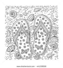 Coloring Book For Adult Slippers Sand And Shell Flip Flop