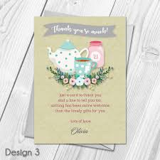 Personalised Afternoon Tea Baby Shower Party Thank You Cards