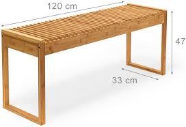 relaxdays sitzbank bambus hxbxt ca 47 x 120 x 33 cm stabile und geräumige gartenbank auch als dielenbank mit platz für 3 4 personen aus bambus für