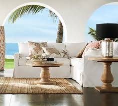 Tropical White Living Room Concept With Country Pottery Barn Omaha