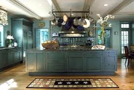 Kitchen Ideas Rustic Blue With Pot Rack Island Lighting