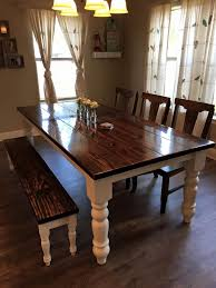 Dining Tables With Benches Kitchen Bench Seating Storage Natural Dark Brown Finished