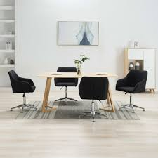 vidaxl esszimmerstühle drehbar 4 stk schwarz stoff gitoparts