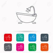 badezimmer symbol bad mit duschschild lineare symbole in quadrate auf weißem hintergrund flache websymbole vektor