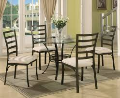 5 Piece Oval Dining Room Sets by Round Glass Top U0026 Metal Base Modern 5 Piece Dining Set
