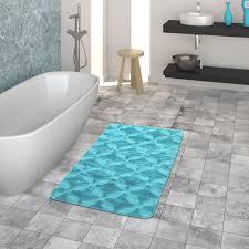 badematte kurzflor teppich für badezimmer einfarbig kreis muster in türkis größe 50x80 cm