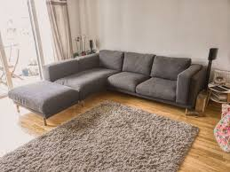 ikea nockeby grey fabric corner sofa chaise and footstool under