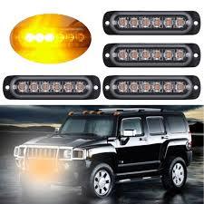 100 Truck Strobe Lights 4 PCS 6 LED Car Emergency Beacon Light Warning Lamp
