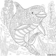 Stylized Cute Dolphin Swimming Among Underwater Seaweed Freehand Sketch For Adult Anti Stress Coloring Book