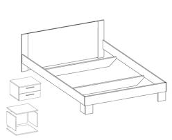 schlafzimmer set doppelbett 160x200cm mit 2 nachtkonsolen kernnuss rot schwarz