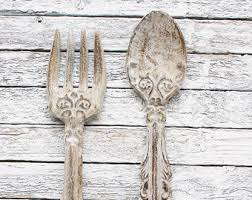 large wooden fork and spoon wall hanging large fork spoon etsy