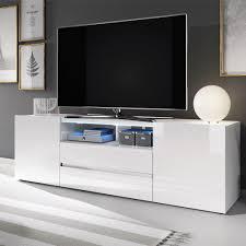 selsey tv lowboard bros tv tisch in weiß matt weiß hochglanz mit led beleuchtung 137 cm breit