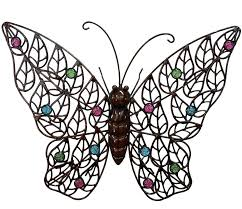 Outdoor Wall Decor Large Elegant Butterfly Garden Art Metal