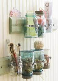 Got A Lot Of Little Pieces Around Your Craft Room Who Doesnt Check Out This Great Idea For Wall Storage Using Mason Jars Learn More At Weeping Cherries