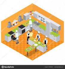 Isometric Italian Restaurant Kitchen Concept With Furniture Utensil And People Cooking Different Kinds Of Pizza Vector