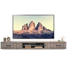 Gray Rustic Barn Wood Style Floating TV Stand Entertainment Center