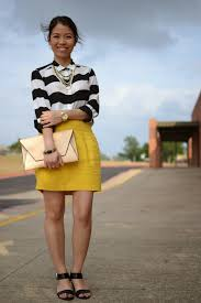 black and yellow striped skirt dress ala