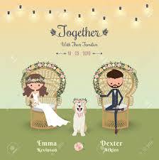 Rustic Bohemian Cartoon Couple Wedding Invitation Card With Dog Peacock Chair Stock Vector