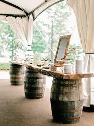 Chic Rustic Wine Barrel Stand Buffet For Wedding Reception Ideas