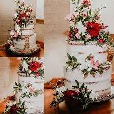 Blessedbeephotography Blush Burgundy Naked Cake Wedding Eclectic Floral